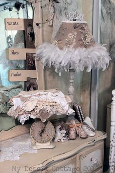 Where Bloggers Create 2012  **My Desert Cottage**  Love the doilies & lace piled on the vintage scale!  Lots of great ideas here and in the MANY other blogs that are participating.
