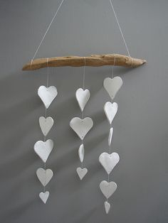 white clay heart mobile