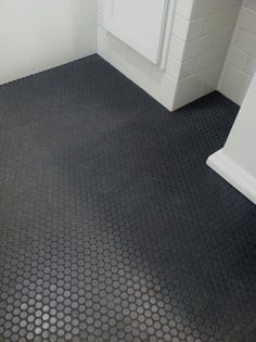 This whole bathroom. Love the floor. Black Penny Tile Floor, Steve Carbin Bathroom Remodel