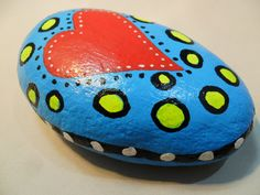 Handpainted HEART LOVE ROCK Valentine's Day Paperweight Red Blue Yellow Abstract Mod Garden Decor Doorstop by KathiJanes on Etsy