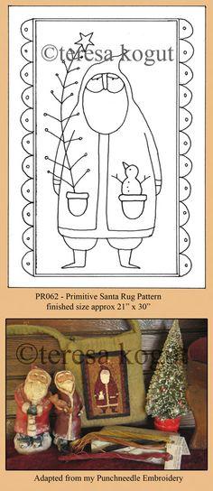Primitive Santa rug pattern by teresa_kogut Primitive Santa, Primitive Christmas, Primitive Crafts, Country Christmas, Noel Christmas, Christmas Crafts, Xmas, Punch Needle Patterns, Primitive Patterns