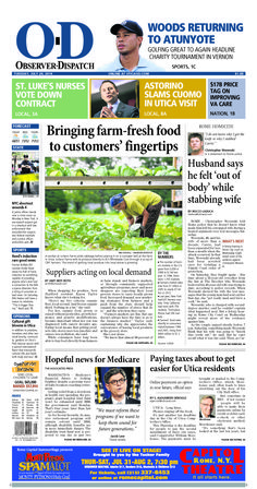 The front page for Tuesday, July 29, 2014: Bringing farm-fresh food to customers' fingertips