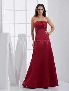 Burgundy Satin Notch Neck A-line Floor Length Bridesmaid Dress - Milanoo.com