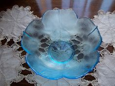 Gorgeous Vintage Set of Three Aqua Blue Depression Glass Vegetable Bowls Flower Pattern - vintageantiquehare on Etsy