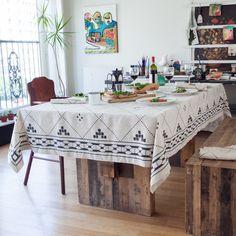 Huddleson Linens - Natural Linen Tablecloth - Black Modern Moroccan Tile Design