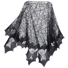 """Spider Web Poncho  Exclusive! Crawl Space. When it comes to spinning and weaving, spiders take the—fly. Hemmed with bat wings all around, this eerie poncho entangles the wearer in an air of the sinister. 100% polyester. Machine washable. Made in USA. Color: Black. One size fits all; 40"""" long (center back)"""