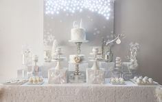 Beautiful white Winter Wonderland Dessert Table #winter #white #snow #party #christmas #wedding #bridal #baby #shower