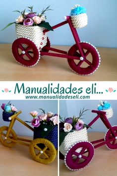 Craft From Waste Material, Diy Y Manualidades, Diy And Crafts, Paper Crafts, Couch Covers, Paper Flowers Diy, Tricycle, Fiber Art, Recycling
