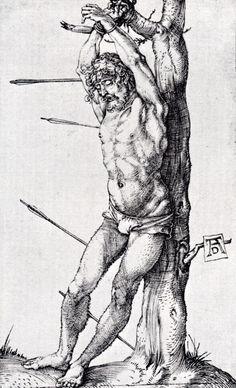 Dürer Albrecht1 San Sebastiano (1515) incisione, cm 12x7 Parigi, Francia, Museo Petit Palais, fondo Dutuit