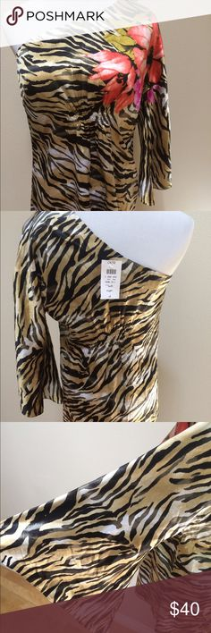 NWT Cache Flower Animal Print One Shoulder Top NWT Cache Flower Animal Print One Shoulder Sleeve Silk Top Blouse Women Medium. Brand new with tags! 95% silk/5% spandex. Clean and comes from smoke free home. Questions welcomed! Cache Tops