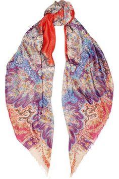 ETRO Metallic paisley-print modal-blend scarf. #etro #scarves