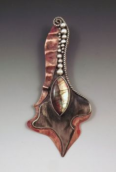 Labradorite Mixed MetalSilver & Copper Art Statement by RedPaw, $169.00