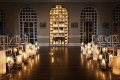TO DIE FOR! This aisle decor with just candles with minimal lighting creates and intimate and romantic feel.