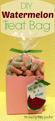 DIY Watermelon Treat Bag Tutorial www.thecraftyblogstalker.com Saving this for a teacher gift