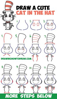 How to Draw The Cat in the Hat : Cute Kawaii / Chibi Version Easy Step by Step Drawing Tutorial for Kids