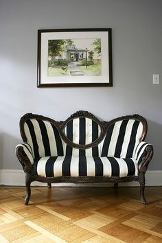 I have an old love seat that needs to be redone. This is cute.  http://oliveourhouse.blogspot.com/search/label/The%20Loveseat/