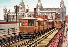 """""""Sid Cooper again. Liverpool Overhead Railway and generation trains and two of three Graces. Liverpool Waterfront, Liverpool Home, Liverpool History, S Bahn, Train Art, Railway Posters, Southport, Commercial Vehicle, Locomotive"""