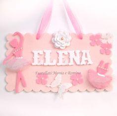 cornice feltro decorazione cameretta danza nome bambina fiocco nascita ballerina farfalle fiori pannolenci