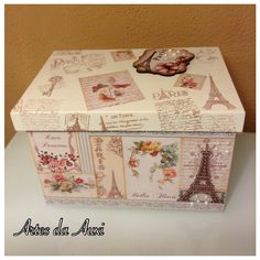 Artes da Auxi -caixa organizadora Pintura Country, Diy Crafts For Teen Girls, Decoupage Box, Do It Yourself Crafts, Crates, Stencils, Decorative Boxes, Projects To Try, Scrap