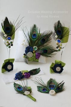 Reserved listing for   Kristina - Peacock Wedding Set