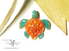 Baby Peach Honeycomb Turtle - Glass Art by Creative Flow Glass.