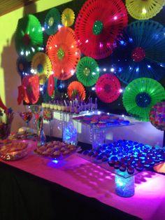 Mesa de dulces neon celebration em 2019 neon birthday, glow party e black. Neon Birthday, Birthday Party For Teens, Birthday Party Decorations, 50th Birthday, Glow Party, 80s Party, Blacklight Party, Rock Star Party, Neon Glow