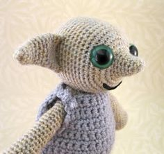 """My son was in floods of tears after watching the death of Dobby in The Deathly Hallows pt 1 (he kept saying """"I hate J K Rowling!""""), so I made him his own little Dobby to love forever. Dobby is free elf! Made using my Little Folk amigurumi pattern."""