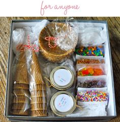 For the ice cream lover, like me - super cute gift idea! Ooohhh...this would be a great party favor for a kid's summer birthday, too! ICE CREAM BAR PARTY, bananas, butterscotch, chocolate, strawberries, nuts, sprinkles, candy, comes, yogurt, fruit, caramel, brownies, cookies, whip cream, cherries, hard shell, chic chips, Oreos, salted caramel