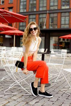 The Blonde Salad -- Easy Chic, Calvin Klein ensemble, black slipons, black Saint Laurent tassle bag