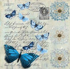 Láminas decoupage, etiquetas, azul, primavera, transfer, flores, aves, mariposas, hada, dama vintage, niña