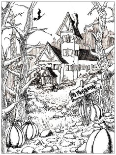 Ideal Free coloring page coloring halloween difficult On the theme of Halloween here is a very rich draing of a haunted house at the bottom of a garden full of