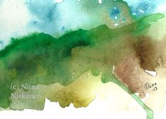 Mist on the Mountains ACEO Art Print Nature Watercolor Landscape Painting Watercolor ACEO Art Print Whimsical Mountians by Niina Niskanen Watercolor Landscape Paintings, Landscape Artwork, Watercolor Artists, Watercolor Paper, Brown Art, Original Art For Sale, Mountain Landscape, Whimsical Art, Mists