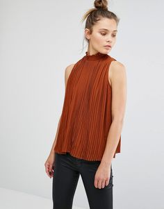 Image 1 of New Look High Neck Pleated Shell Top