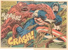 A double page spread from Captain America # 208 - art by…who else… Jack Kirby ! Comic Book Pages, Comic Book Artists, Comic Artist, Comic Books Art, Captain America Comic Books, Marvel Captain America, Marvel Heroes, Stan Lee, Comics