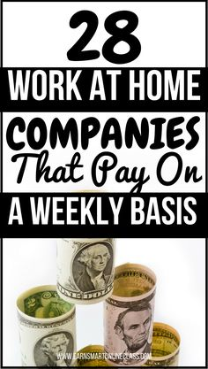 Looking for work at home jobs that pay on a weekly basis? You are at the right p… Looking for work at home jobs that pay on a weekly basis? You are at the right place! These 28 work from home companies pay every single week. Cash From Home, Online Jobs From Home, Earn Money From Home, Earn Money Online, Make Money Blogging, Way To Make Money, Earning Money, Money Tips, Money Fast