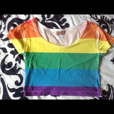 competitive price 20e37 3b5aa Gay Pride Crop Top New never used only washed it very form fitting size  Small Spencers Tops Crop Tops