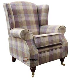 Arnold Fireside High Back Wing Chair Huntingtower Grape Wool Check Tweed Fabric