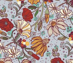 Floral Fantastique fabric by gsonge. Interesting floral design with a nice play of scales. Kuler contest; create a design with a palette generated by Adobe Kuler.