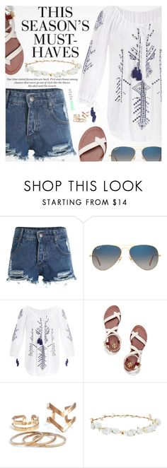 """""""Summer Must-Haves"""" by black-fashion83 ❤ liked on Polyvore featuring Ray-Ban, Tory Burch, H&M, Robert Rose, polyvoreeditorial, polyvoreset and stylemoi"""