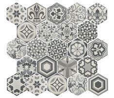 Carrelage sol, salle de bain, cuisine et terrasse C. Ciment imitation - Art Deco 2 Hexagonal B&W 17,5x20 - Carrelage imitation carreaux de ciment, grès Cérame