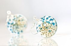 Real+Flower+Resin+Earrings+Resin+Real+Flower+by+CraftivityWorkshop,+$23.00