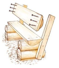 This weekend project shows you in easy illustrated steps how to make a rustic DIY log bench from leftover lumber after your log home is built.