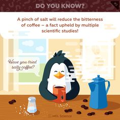 Have you tried salty coffee? Have You Tried, Did You Know, Subscriptions For Kids, Chemistry Set, Science Facts, Note To Self, Health Care, Life Hacks, Nutrition