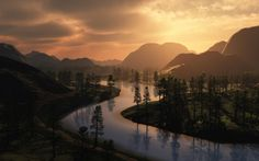 http://www.wallpapershunt.com/user-content/uploads/wall/o/38/Mountains-River-Sunset-Widescreen-Wallpaper.jpg