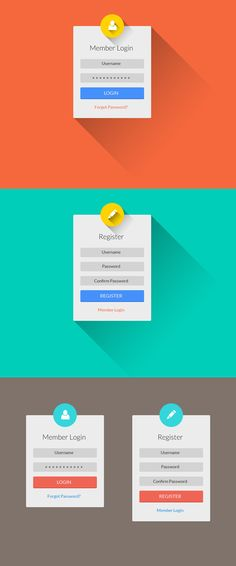Today's resource is a flat login and register UI PSD design. Login Design, Web Design, Form Design, Material Design, App Login, Mobile Ui Design, Ui Design Inspiration, Long Shadow, Application Design