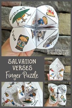 Now your kids can have fun making and playing with a finger puzzle while also learning about the story of salvation – with this salvation verses finger puzzle. Sunday School Crafts For Kids, Bible School Crafts, Bible Crafts For Kids, Sunday School Activities, Bible Lessons For Kids, Vbs Crafts, Bible Activities, Church Crafts, Sunday School Lessons