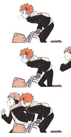 Haikyuu Funny, Haikyuu Manga, Haikyuu Fanart, Manga Anime, Fanarts Anime, Anime Films, Anime Characters, Fandom Crossover, Anime Crossover