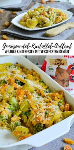 Gesunder Gemüsenudel-Kartoffel-Auflauf für Kinder. Vegan und mit verstecktem Gemüse ;) mit Cashew-Parmesan