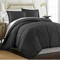 Ebern Designs Cagle Down-Alternative 3 Piece Reversible Comforter Set Color: Navy, Size: Queen Chevron Duvet Covers, Ruffle Bedding, Ruffle Bed Skirts, King Comforter, Comforter Sets, Bedroom Green, Bedroom Decor, Bedroom Stuff