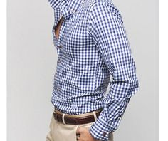 Men's High Collar Checkered Button Shirt